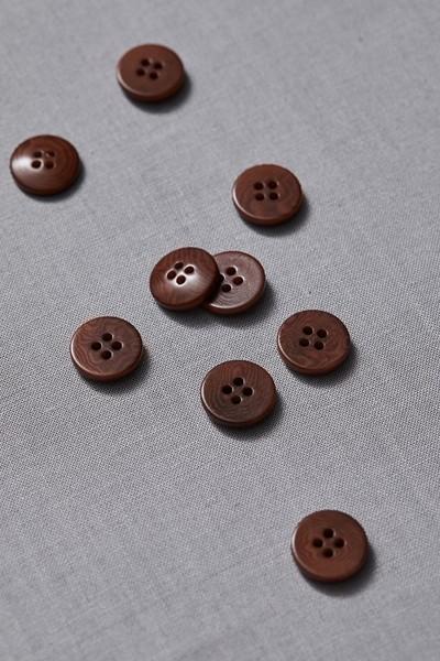 Plain Corozo Button 15 mm - Pecan