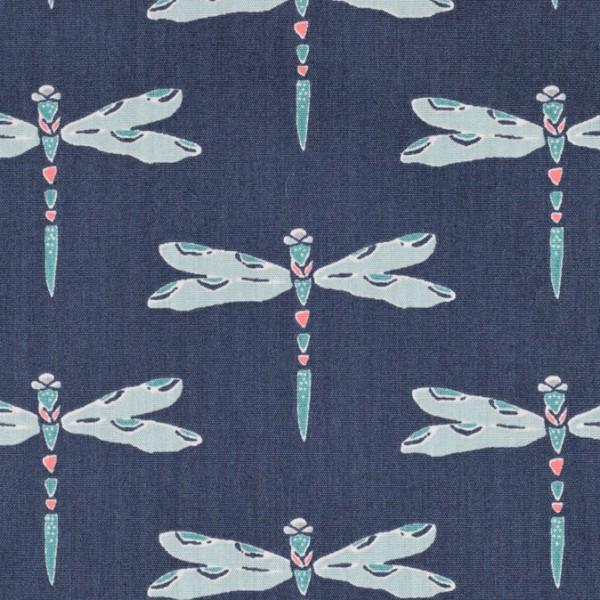 Art gallery fabrics baumwolle nightfall Nox Iridescence Dim libelle marine