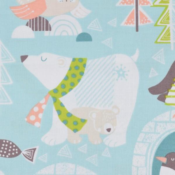 Blend Snow Day Eisbären, Iglu, Pinguin hellblau