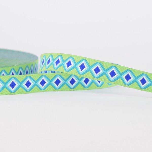 Green Diamond ist der perfekte Kombipartner für alle die es modern und peppig lieben. Die Farben Lime, Türkis und Blau bringen dein Nähprojekt zum Leuchten.  Breite ca. 12 mm