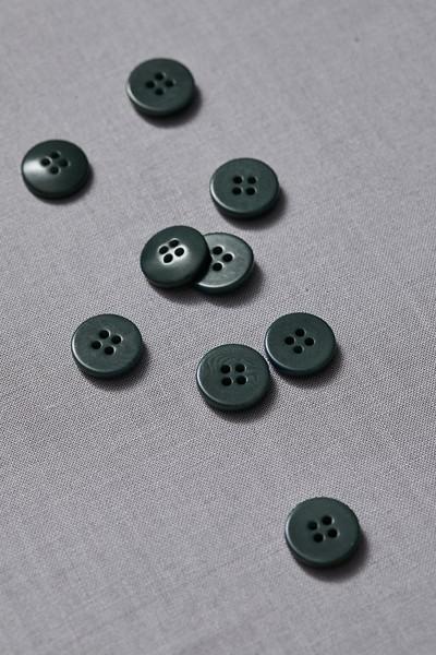 Plain Corozo Button 15 mm - Deep Green