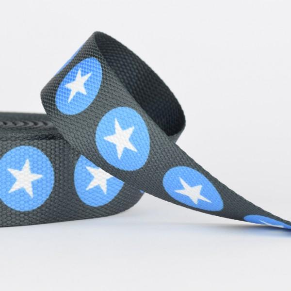 Gurtband - Sterne in Punkten weiß/blautürkis /dunkelgrau