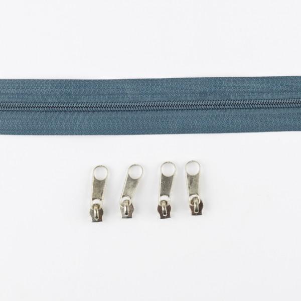 3mm Endlos-Reißverschluss grau-blau