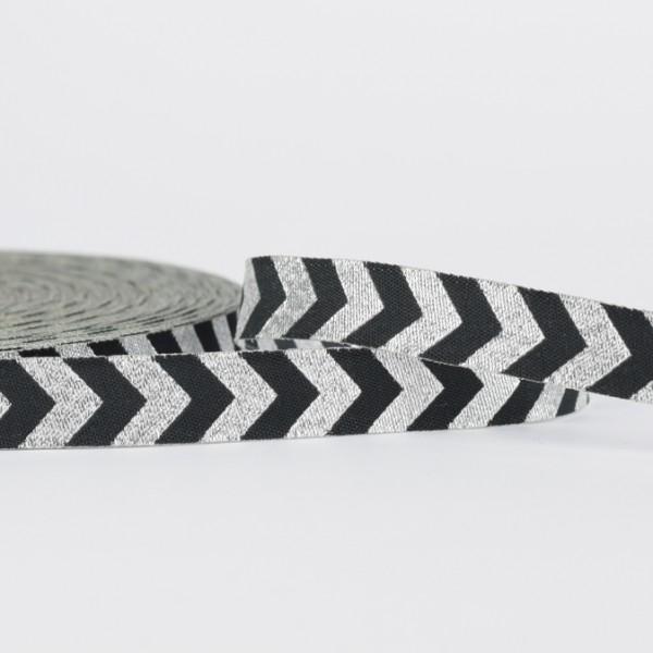 Chevron-Webband - silber-schwarz mit Glitzerfaden