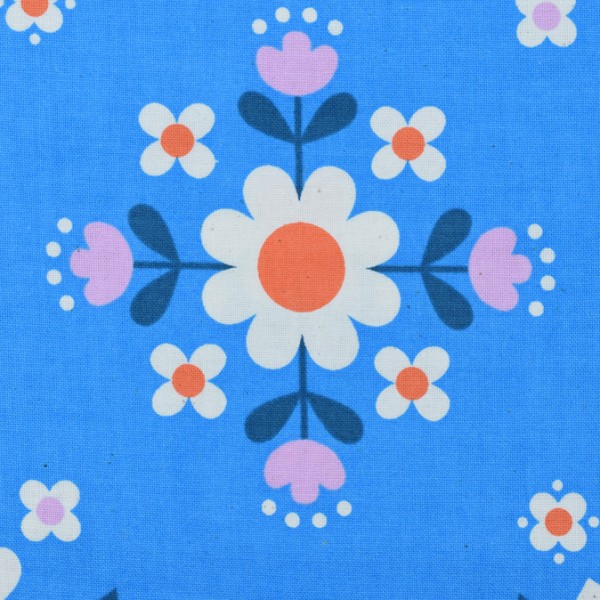 Cotton and Steel - Welsummer - Florametry Bright Blue