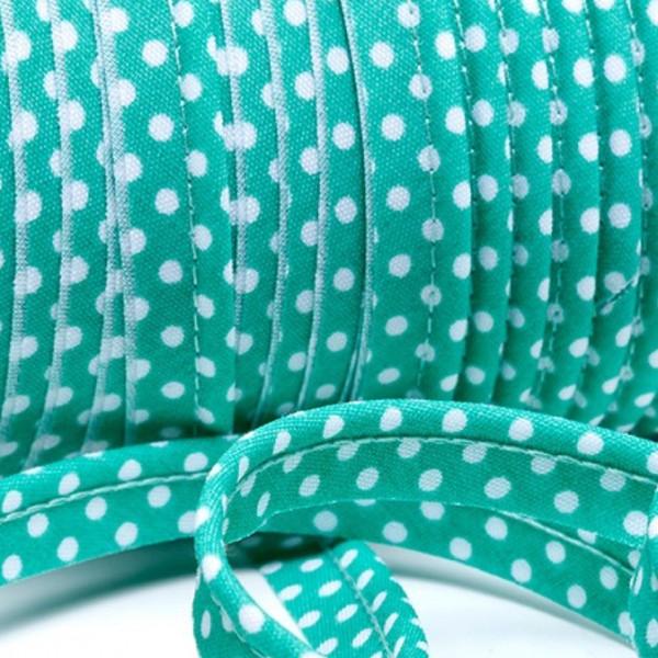 Paspelband weiße Punkte - mintgrün