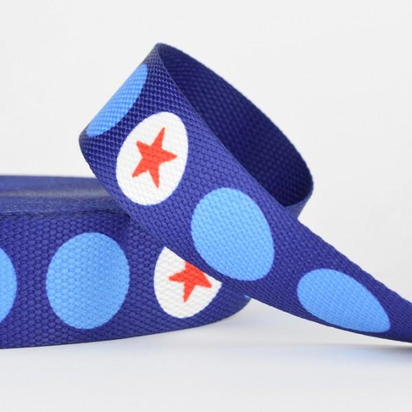 Gurtband - Stern in Punkt rot/weiß /hellblau/marineblau