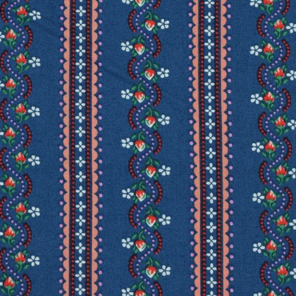 Baumwolle blaue Streifen/Blümchen