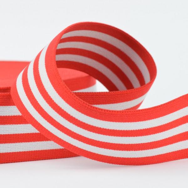 Gummiband Streifen rot/weiß