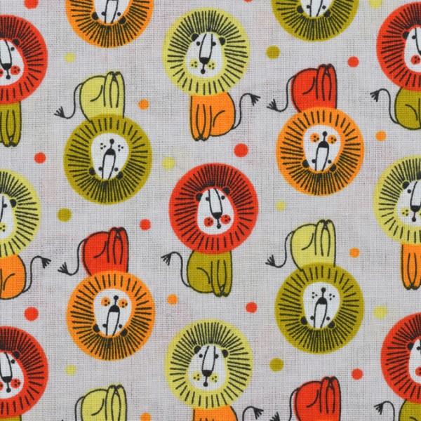 Baumwolle Löwe rot/orange/gelb