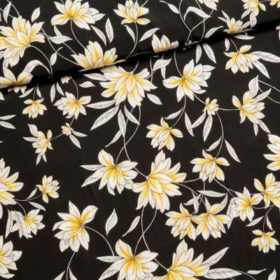 Viscose Blumenmuster schwarz für Arlette/ Pola