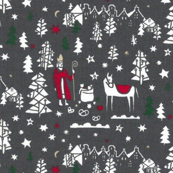 Westfalenstoffe Druckstoff Noël Nikolaus braungrau