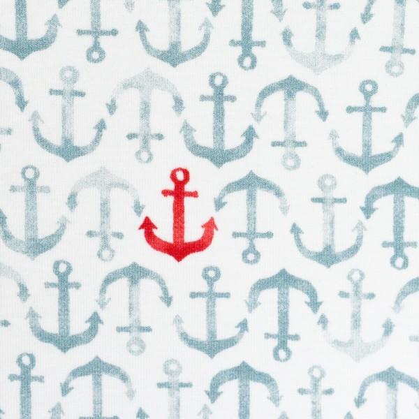 Jersey Nautical Baby, Anker rot/rauchblau