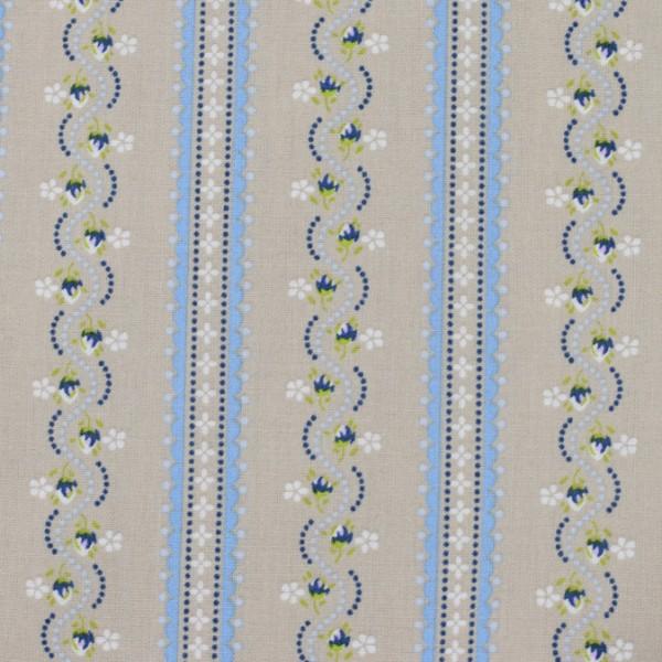 Baumwolle blaue Blümchen Streifen