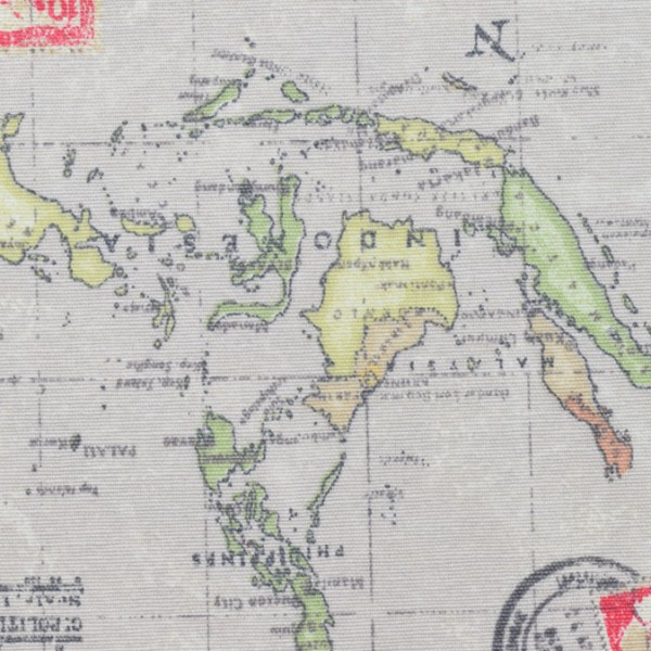 Canvas Weltkartenstoff natur