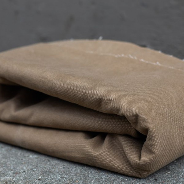 HEAVY WASHED CANVAS, 17 oz - Brown Khaki