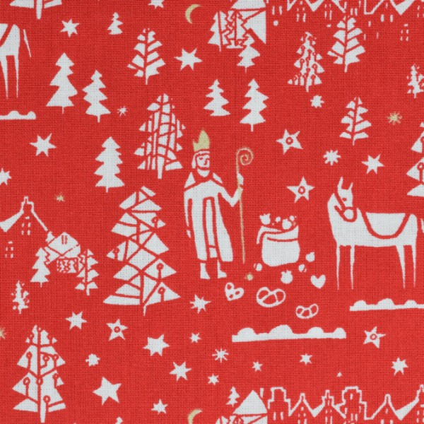 Westfalenstoffe Druckstoff Noël Nikolaus rot