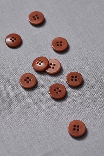 Plain Corozo Button 15 mm - Rust